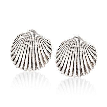 Sterling Silver Seashell Motif Earrings, , default