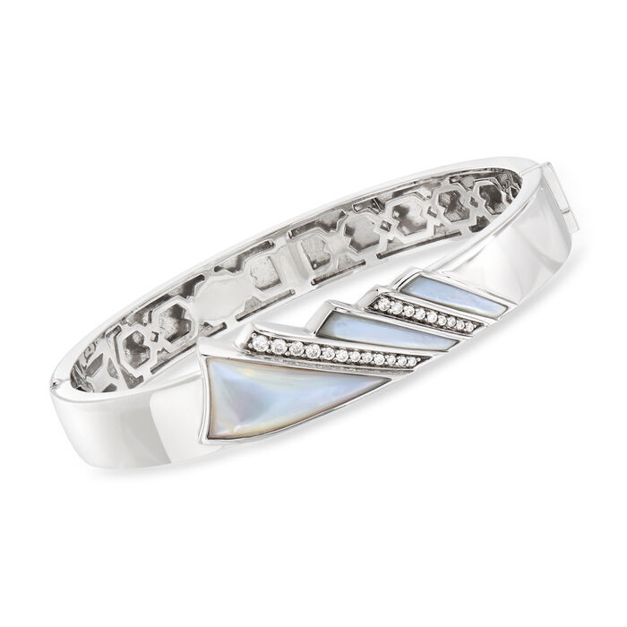 """Belle Etoile """"Empire"""" Mother-Of-Pearl and .36 ct. t.w. CZ Bangle Bracelet in Sterling Silver. 7.5"""", , default"""