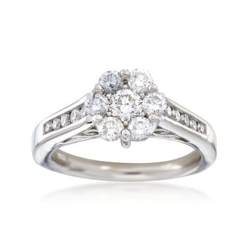 C. 1990 Vintage 1.00 ct. t.w. Diamond Cluster Ring in 14kt White Gold. Size 6.75, , default