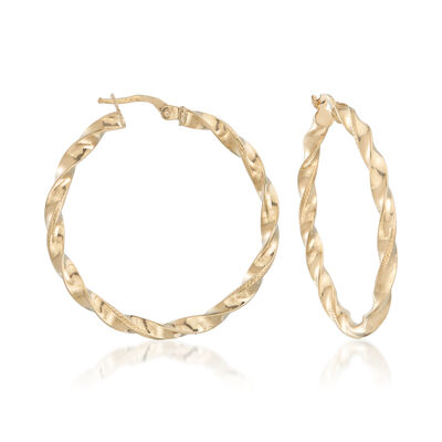 Italian 18kt Yellow Gold Textured and Polished Twist Hoop Earrings, , default