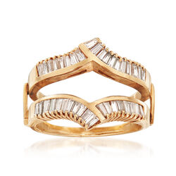 C. 1990 Vintage 1.50 ct. t.w. Diamond Baguette V-Shaped Insert Ring in 14kt Yellow Gold, , default