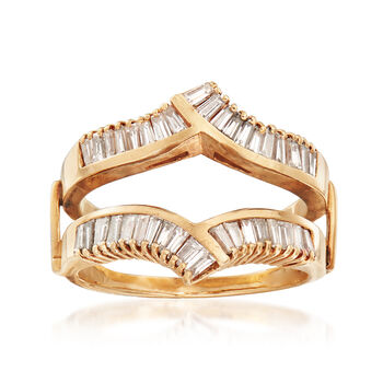 C. 1990 Vintage 1.50 ct. t.w. Diamond Baguette V-Shaped Insert Ring in 14kt Yellow Gold. Size 8, , default