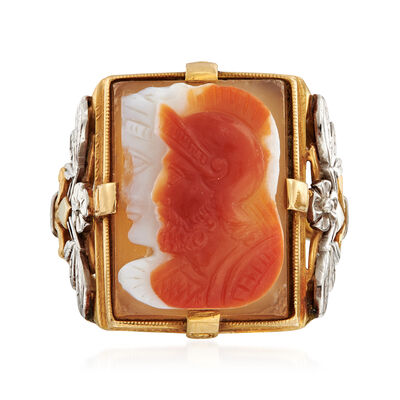 C.1970 Vintage 20x15mm Agate Centurion Head Ring in 18kt Yellow Gold, , default