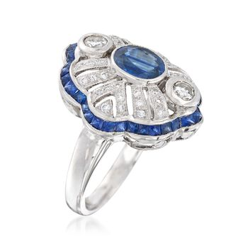 C. 1990 Vintage 3.30 ct. t.w. Sapphire and .50 ct. t.w. Diamond Ring in 18kt White Gold. Size 7, , default