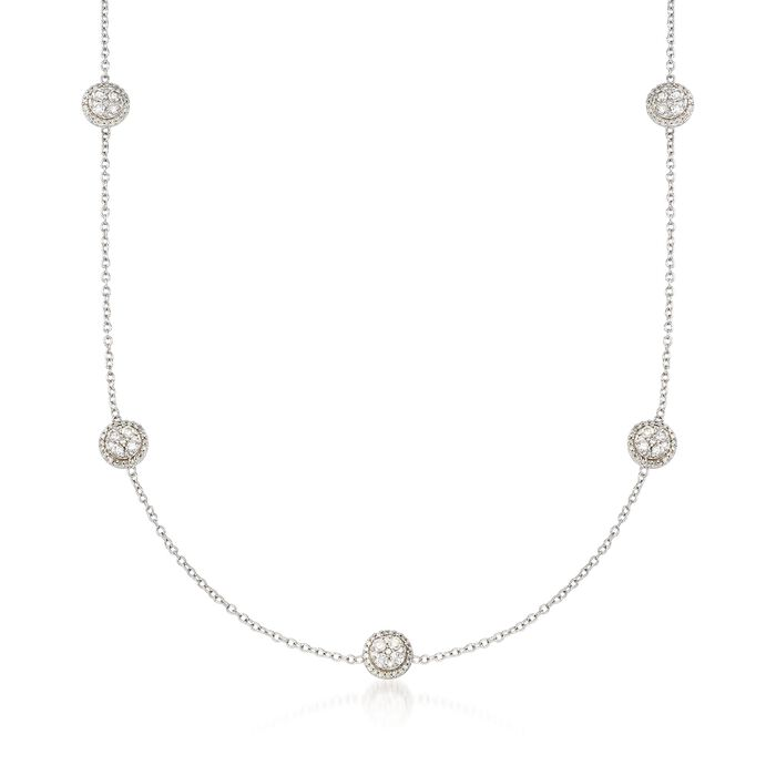 """1.00 ct. t.w. Diamond Cluster Circle Station Necklace in 14kt White Gold. 18"""", , default"""