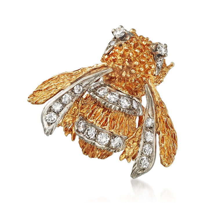 C. 1970 Vintage .85 ct. t.w. Diamond Bumble Bee Pin in 14kt Yellow Gold, , default