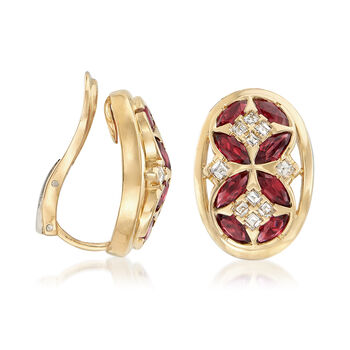 C. 1980 Vintage 2.40 ct. t.w. Ruby and .85 ct. t.w. Diamond Clip-On Earrings in 18kt Yellow Gold