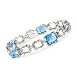 "C. 1990 Vintage 14.10 ct. t.w. Aquamarine and .85 ct. t.w. Diamond Bracelet in Platinum. 6.75"", , default"
