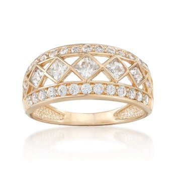 .90 ct. t.w. Round and Princess-Cut CZ Open-Space Ring in 14kt Yellow Gold, , default