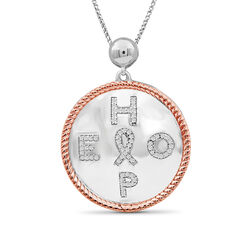 ".20 ct. t.w. Diamond ""Hope"" Pendant Necklace With Cancer Ribbon in Two-Tone Sterling, , default"