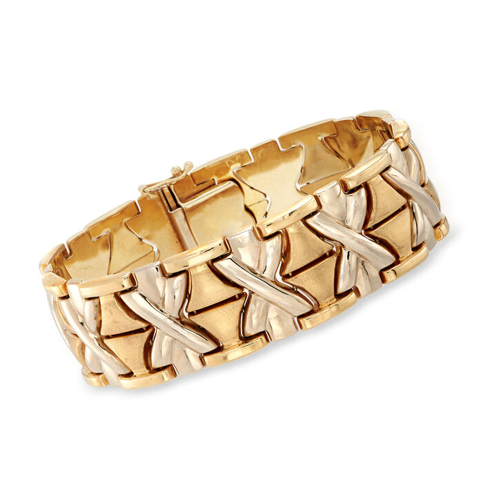 "C. 1980 Vintage 14kt Yellow Gold X Bracelet. 7.5"""