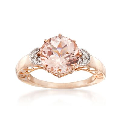 3.40 Carat Morganite Ring With Diamond Accents in 14kt Two-Tone Gold, , default