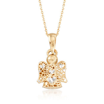 "14kt Yellow Gold Multi-Finish Angel Pendant Necklace. 18"", , default"