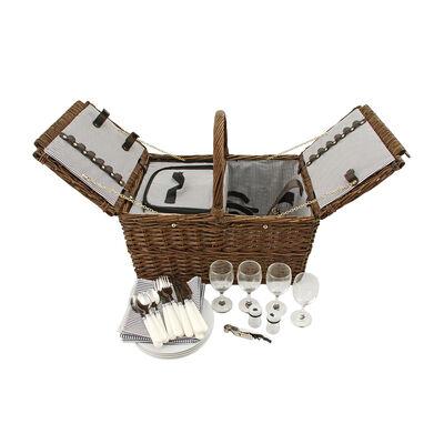 Cape Cod Service for 4 Wicker Picnic Basket Set