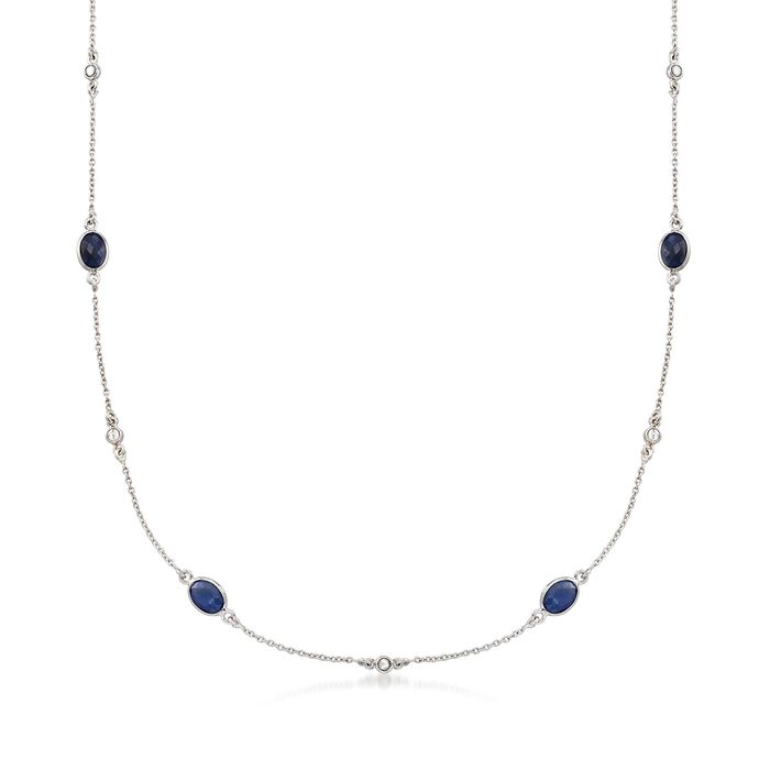 8.25 ct. t.w. Sapphire and .13 ct. t.w. Diamond Station Necklace in Sterling Silver, , default