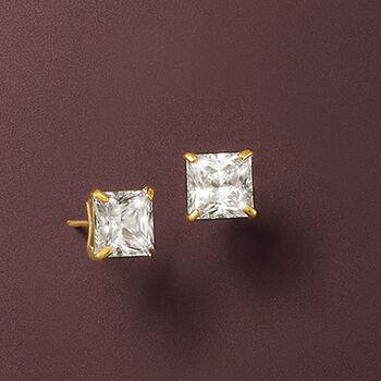 2.00 ct. t.w. Princess-Cut CZ Stud Earrings in 14kt Yellow Gold , , default