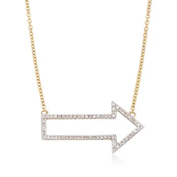 """.19 ct. t.w. Diamond Arrow Necklace in 14kt Yellow Gold. 16"""", , default"""