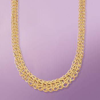 Italian 18kt Yellow Gold Graduated Braid-Link Necklace, , default