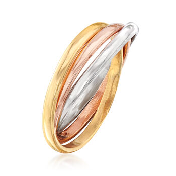 Italian Tri-Colored Sterling Silver Rolling Ring, , default