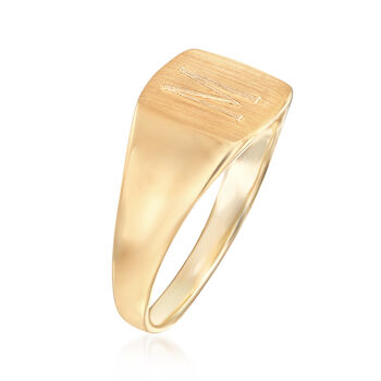 14kt Yellow Gold Single Initial Square Signet Ring, , default