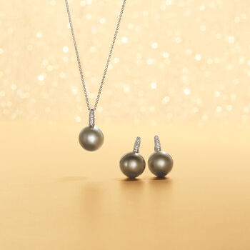 """13mm Black South Sea Pearl Necklace with Diamond Accents in 18kt White Gold. 16"""", , default"""