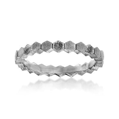 Italian Gunmetal Sterling Silver Brushed Geometric Ring, , default