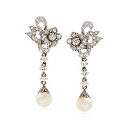 C. 1980 Vintage 7.8mm Cultured Pearl and .45 ct. t.w. Diamond Earrings With CZs in 14kt White Gold, , default