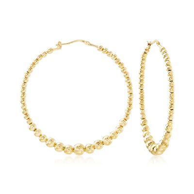 Italian 18kt Gold Over Sterling Beaded Hoop Earrings, , default
