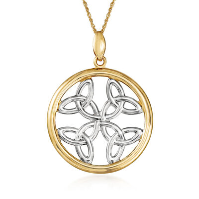 14kt Two-Tone Gold Trinity Knots Pendant Necklace , , default