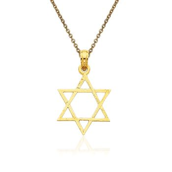 "14kt Yellow Gold Star of David Pendant Necklace. 18"", , default"