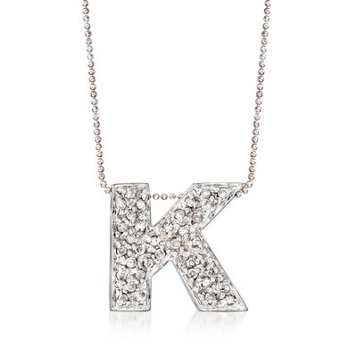 ".70 ct. t.w. Diamond ""K"" Letter Necklace in 14kt White Gold"