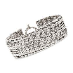 Sterling Silver Multi-Row Curb-Link Bracelet, , default