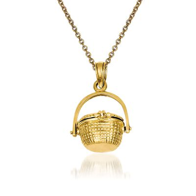 14kt Yellow Gold Nantucket Basket Pendant Necklace, , default