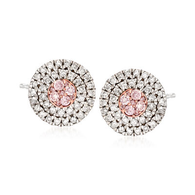 .50 ct. t.w. Pink and White Diamond Earrings in 14kt Two-Tone Gold, , default