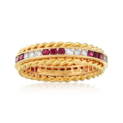 C. 1970 Vintage Tiffany Jewelry .60 ct. t.w. Ruby and .45 ct. t.w. Diamond Ring in 18kt Yellow Gold, , default