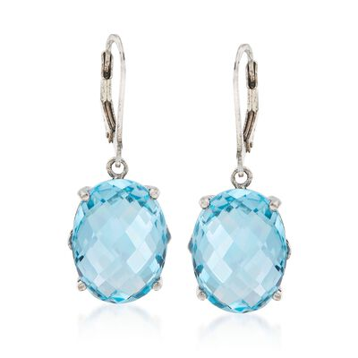 20.00 ct. t.w. Blue Topaz Drop Earrings in Sterling Silver