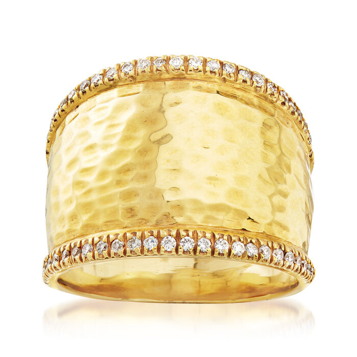 Mazza .25 ct. t.w. Diamond Wide Ring in 14kt Yellow Gold. Size 8