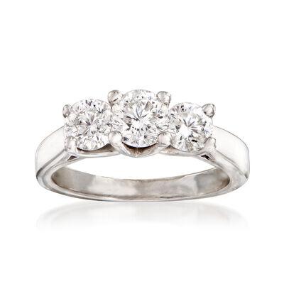 C. 1990 Vintage 1.50 ct. t.w. Diamond Three-Stone Ring in 14kt White Gold, , default