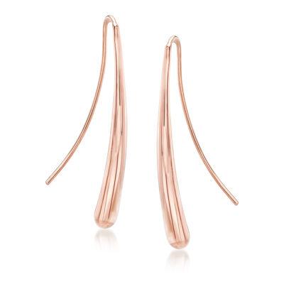14kt Rose Gold Long Teardrop Drop Earrings, , default