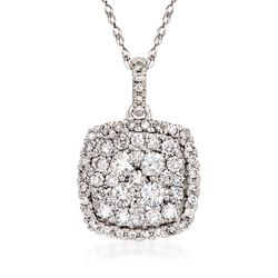 "1.00 ct. t.w. Diamond Illusion Pendant Necklace in 14kt White Gold. 18"", , default"