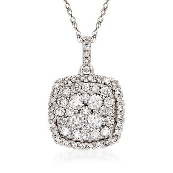 """1.00 ct. t.w. Diamond Illusion Pendant Necklace in 14kt White Gold. 18"""", , default"""