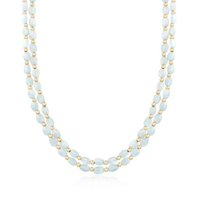 70.00 ct. t.w. Multi-Strand Aquamarine Bead Necklace in 14kt Yellow Gold