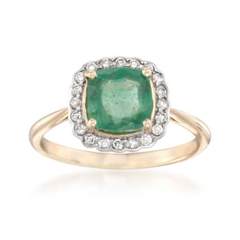1.60 Carat Emerald and .20 ct. t.w. Diamond Ring in 14kt Yellow Gold, , default