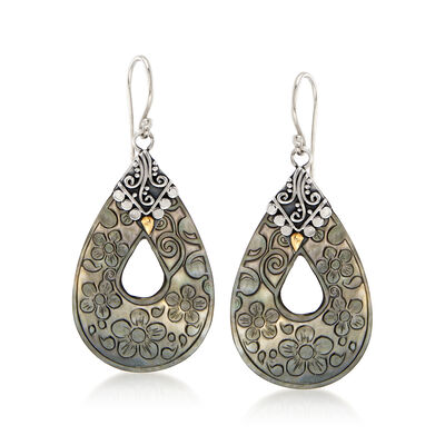 Black Mother-Of-Pearl Floral Drop Earrings with Sterling Silver and 18kt Yellow Gold, , default