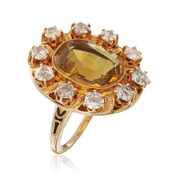 C. 1900 Vintage 6.00 Carat Citrine and 1.80 ct. t.w. Diamond Ring in 14kt Yellow Gold. Size 5.75, , default