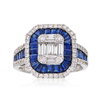 2.60 ct. t.w. Sapphire and .85 ct. t.w. Diamond Ring in 18kt White Gold, , default