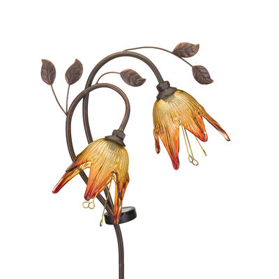 "Regal ""Double Flower"" Set of 2 Amber Solar Garden Stakes"