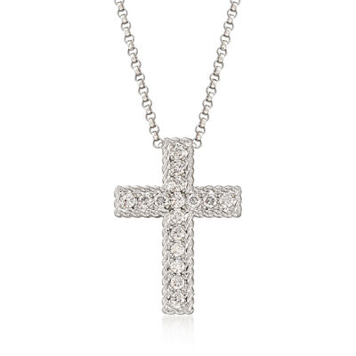 "Roberto Coin ""Princess"" .23 ct. t.w. Diamond Cross Necklace in 18kt White Gold, , default"