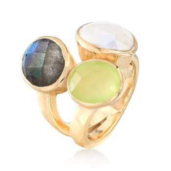 Prehnite, Labradorite and Moonstone Ring in 18kt Gold Over Sterling