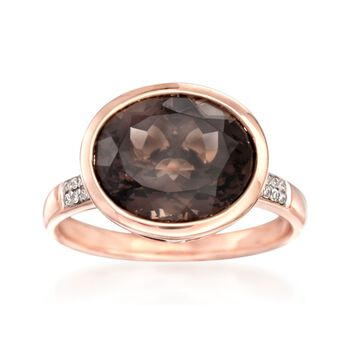 4.00 ct. t.w. Smoky Quartz Ring With Diamond Accents in 14kt Rose Gold, , default